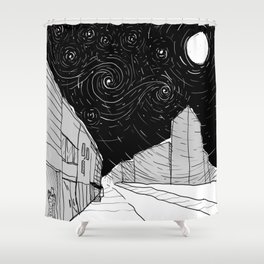 Night Sky in Middling City Shower Curtain
