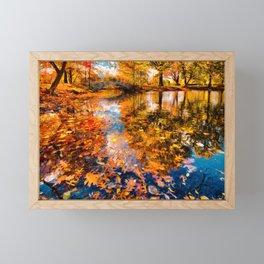 Boston Fall Foliage Reflection Framed Mini Art Print
