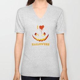 I Love Halloween Unisex V-Neck