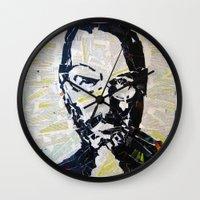 steve jobs Wall Clocks featuring Steve Jobs by Phil Fung