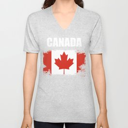 Canada Design Canadian Flag Image  Vintage Distressed Flag Unisex V-Neck