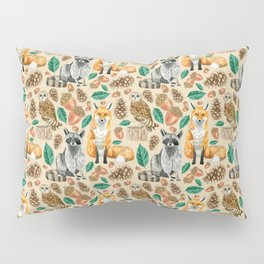 Woodland Creatures Illustrated Watercolor Pattern Pillow Sham
