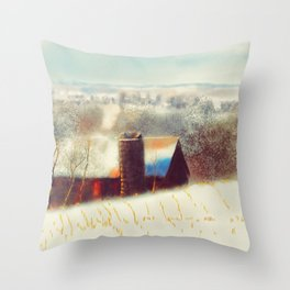 The Barn Over The Hill Throw Pillow