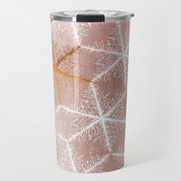 Elegant Geometric Gold Snowflakes Holiday Pattern Travel Mug