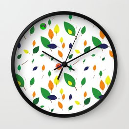Cat Me Flying Leaves Wall Clock