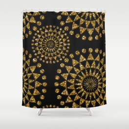 Gold glamour faux glitter ornament shimmering black Shower Curtain