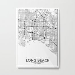 Minimal City Maps - Map Of Long Beach, California, United States Metal Print