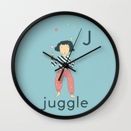 J is for Juggle Wall Clock