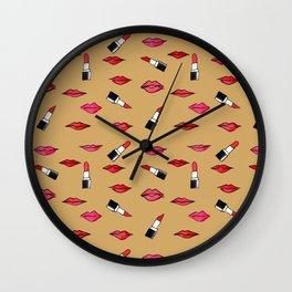 Lips and lispticks pattern in skin tone background Wall Clock