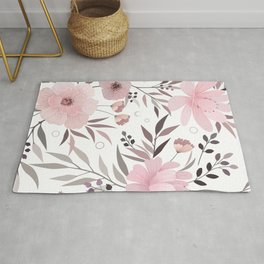 Modern, Floral Prints, Pink, Gray and White, Art for Walls Rug