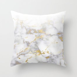 Blush chic faux gold gray gradient marble Throw Pillow