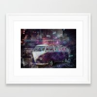 volkswagon Framed Art Prints featuring Night time Camper by yairi