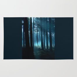 Haunted forest- winter mist in forest Rug