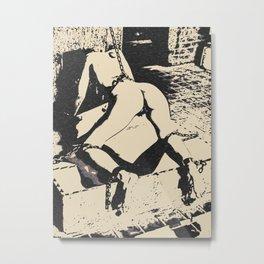 Into the Den - sexy submissive slave girl in dark Master's erotic dungeon, BDSM bondage fetish Metal Print