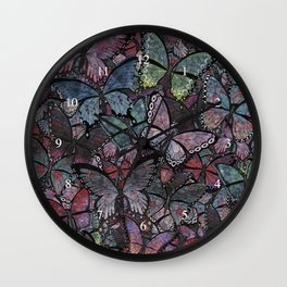 butterflies galore noir version Wall Clock