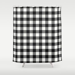 Black And White Country Buffalo Check With Digital Canvas Texture Shower Curtain