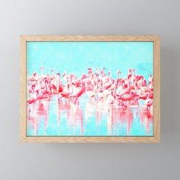 Flamingos tropical illustration Framed Mini Art Print