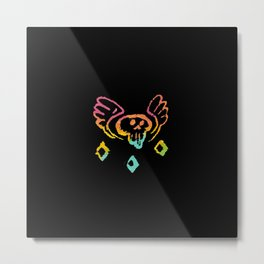 flying skull doodle painting gradient Metal Print