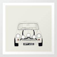 The Italian Job White Mini Cooper Art Print