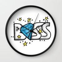 boss Wall Clocks featuring Boss by DeMoose_Art