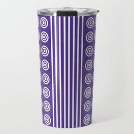 Purple and White Vertical Stripes and Circles - Purple Series Travel Mug