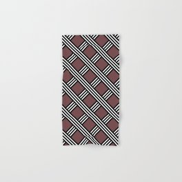Pantone Red Pear, Black & White Diagonal Stripes Lattice Pattern Hand & Bath Towel