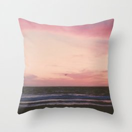 Beachy Birdy Sunset Throw Pillow