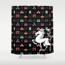 Unicorn on a field of castles Shower Curtain