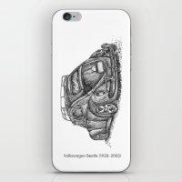 volkswagen iPhone & iPod Skins featuring Volkswagen Beetle by Akkattoos