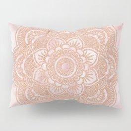 Rose gold mandala - pink marble Pillow Sham