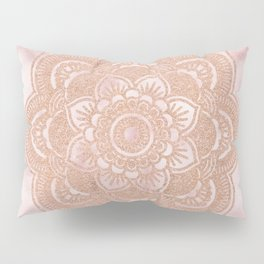 Rose gold mandala - pink marble Pillow Sham