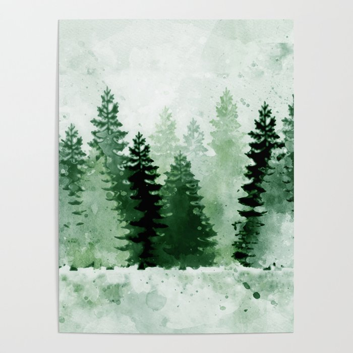 pine forest watercolor poster by cozycabinclothing society6 pine forest watercolor poster by cozycabinclothing