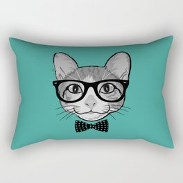 Cat Hipster with Polka Dots Bow Tie Rectangular Pillow