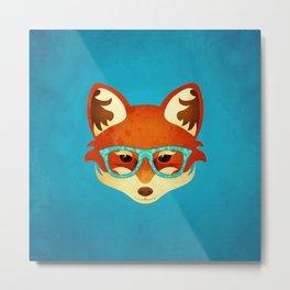 Hipster Fox: Azure Metal Print