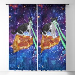 Galaxy Laser Beam Eyes Cat on Pizza Blackout Curtain