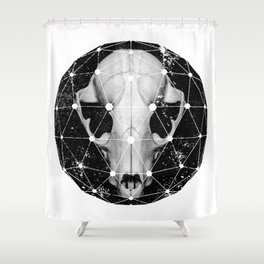 geometric raccoon skull Shower Curtain