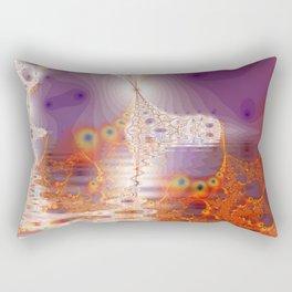 Ice Gold, Abstract Fractal Underground Lake  Rectangular Pillow