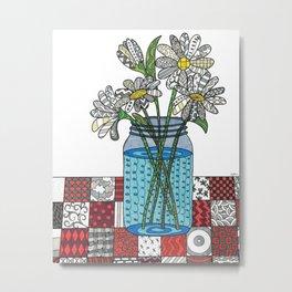 Daisies in a Mason Jar Metal Print