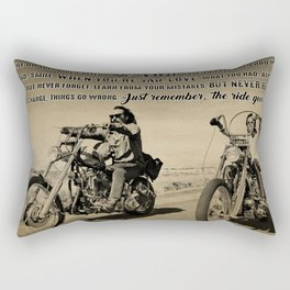 Biker While On This Ride Called Life Just Remember The Ride Goes On Rectangular Pillow