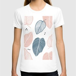 Leaves Pink And Blue - Mid Century Pattern T-shirt