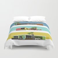 mid century modern Duvet Covers featuring Mid Century Modern Houses 2 by MidPark Prints