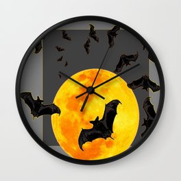 GREY HALLOWEEN BAT MIGRATION TO  MOON ART Wall Clock
