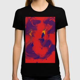 Red Blue Jean Abstract Art T-shirt