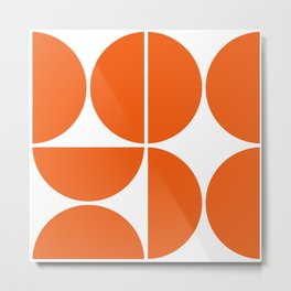 Mid Century Modern Orange Square Metal Print
