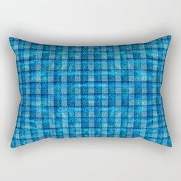 Ocean Blue and Pale Velvety Gingham Plaid Texture Rectangular Pillow