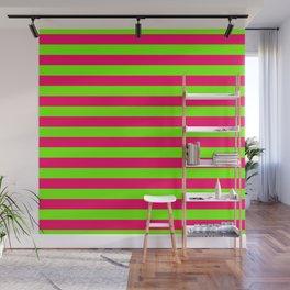 Super Bright Neon Pink and Green Horizontal Beach Hut Stripes Wall Mural