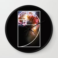 fibonacci Wall Clocks featuring Fibonacci Spiral Galaxy by Galactic Mantra