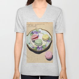 Macarons on an Antique Plate in Gouache Unisex V-Neck