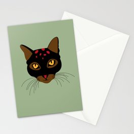 Wild black cat on green Stationery Cards
