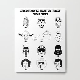 Stormtrooper Blaster Target Cheat Sheet Metal Print